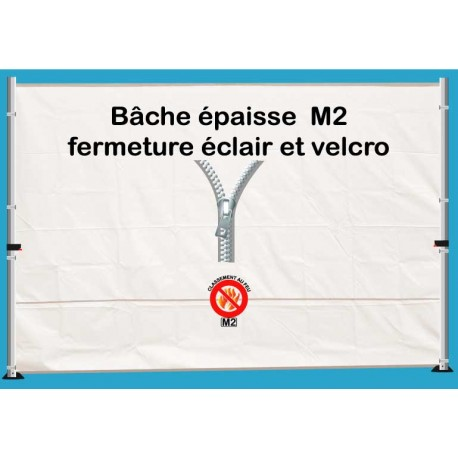 BACHE EPAISSE FERMETURE ECLAIR 3m