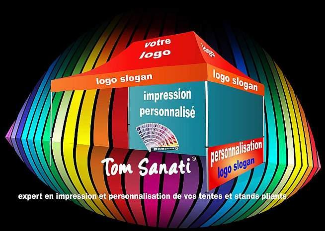 personnalisation tente barnum stand pliant impression tonnelle pliante Tom Sanati